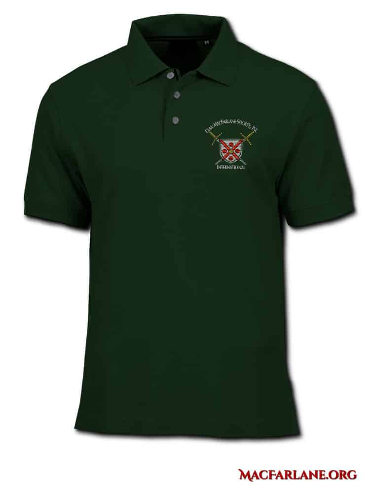 International Clan MacFarlane Society Embroidered Polo Shirt. Artist: Maxine Miller ©celticjackalope.com