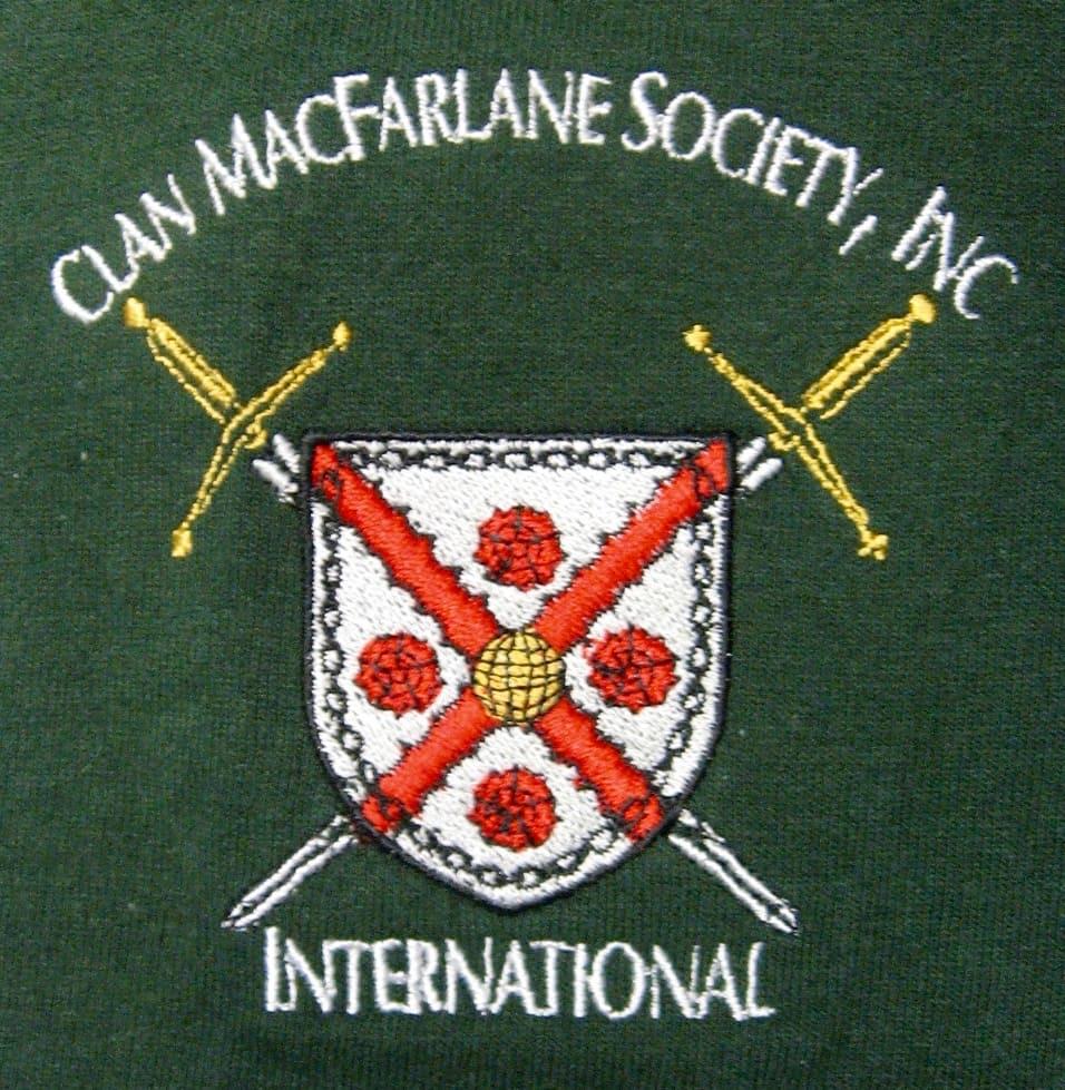 International Clan MacFarlane Society Embroidered Polo Shirt. Artist: Maxine Miller ©celticjackalope.com