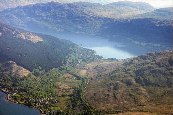 Isthmus between Arrochar, Loch Long and Tarbet, Loch Lomond. The name Tarbet is derived from gaelic, An Tairbeart, meaning an isthmus