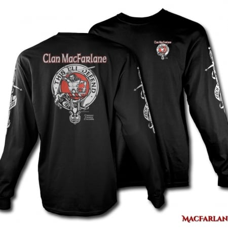 Clan MacFarlane Crest Badge Tshirt - Men's Long Sleeve - art by Maxine Miller - ©celticjackalope.com