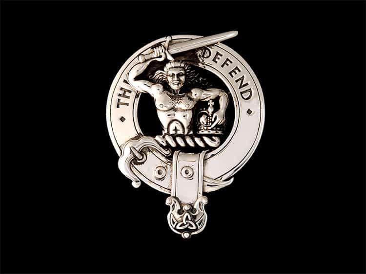 Clan MacFarlane 92.5 Sterling Silver Clansman's Crest Badge by Maxine Miller ©celticjackalope.com