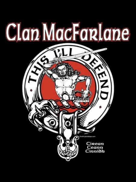 Clan MacFarlane Crest Badge Tshirt - Men's - art by Maxine Miller - ©celticjackalope.com