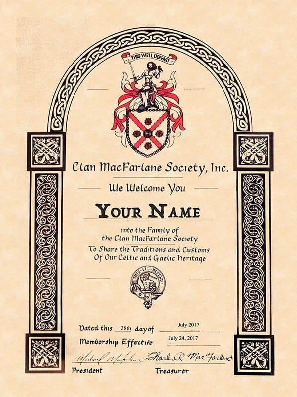 Clan MacFarlane Membership Certificate