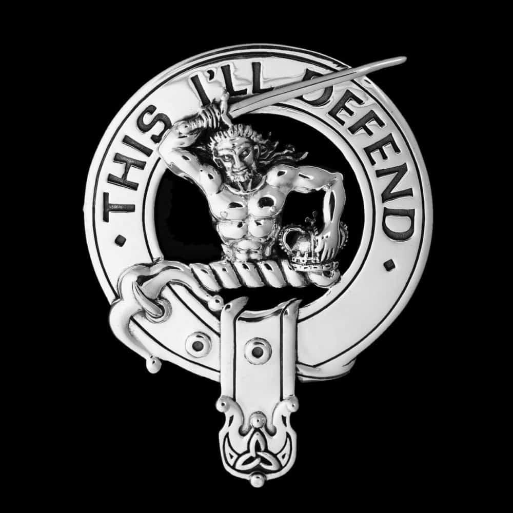 Clan MacFarlane 92.5 Sterling Silver Clansman's Crest Badge v3.0 by Maxine Miller ©celticjackalope.com